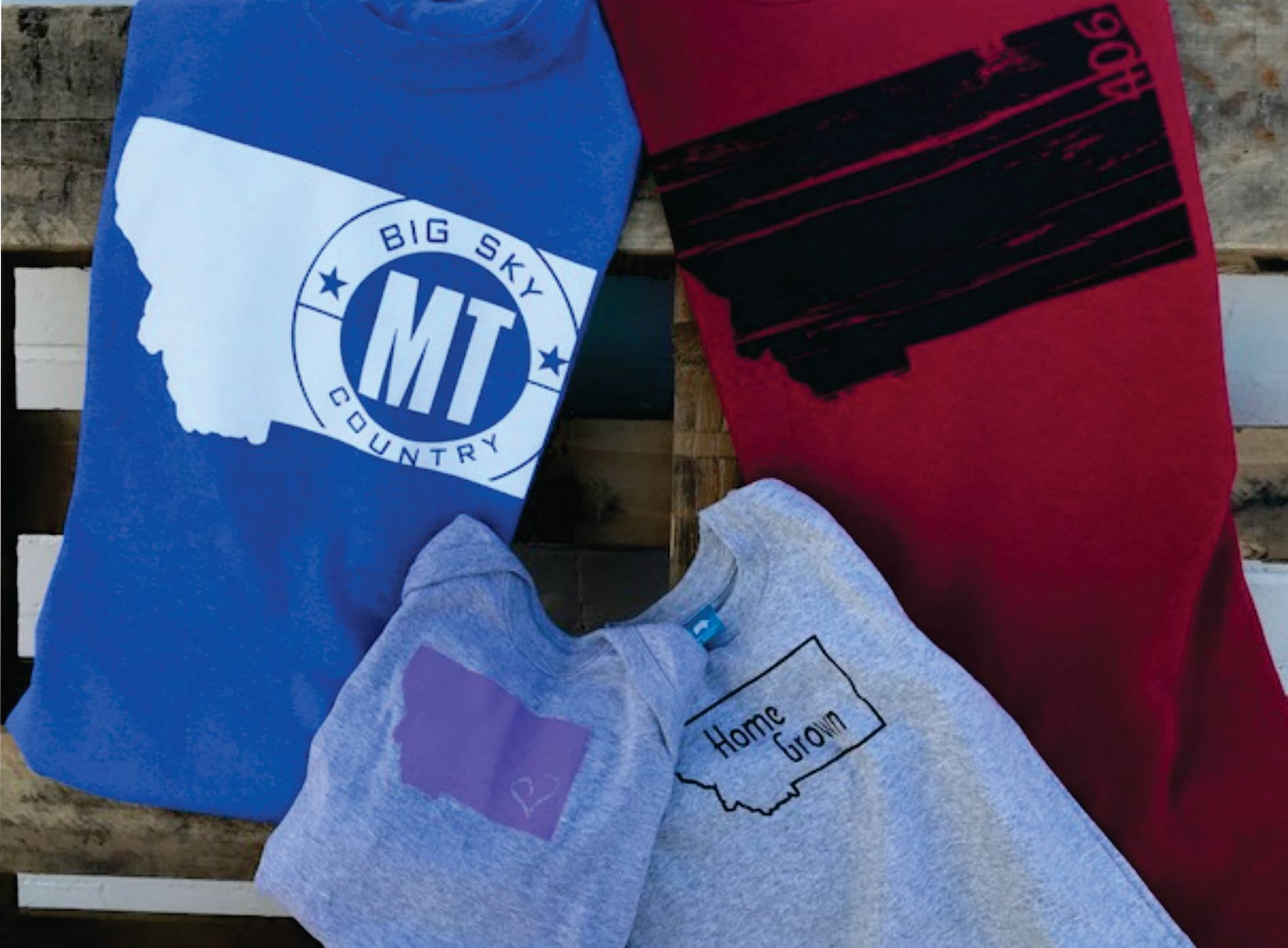 Screen printed t-shirts with Montana state logos on front